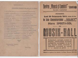 _0785 063 569, CONSTANTA - vand Program estrada, 100 RON, 30-10-1944